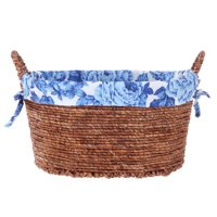 Pioneer Woman Small Oval Blue Floral Maize Basket