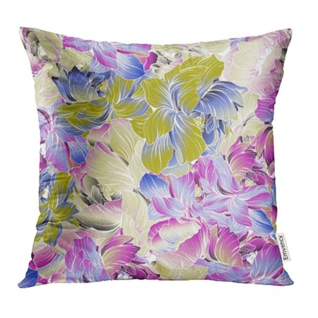 ARHOME Delicate Colors of Seamples Peony Blossom Using Batik Techniques Pink Blue Purple Pillow Case Pillow Cover 20x20 inch Throw Pillow Covers ()