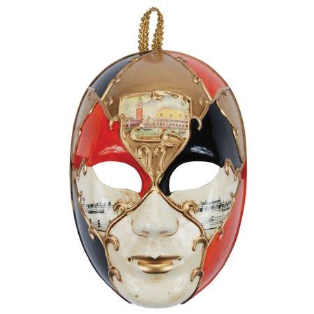 Loftus Music Notes Masquerade Face Venetian Mask, Orange Gold, One Size