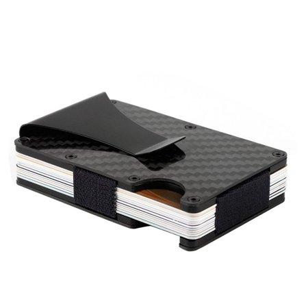 Carbon fiber Credit card holder with metal Money clip - RFID Blocking slim Metal Wallet purse for Men &