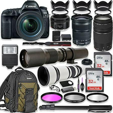Canon EOS 5D Mark IV DSLR Camera w/24-105mm STM Lens Bundle + Canon EF 75-300mm III Lens, Canon 50mm f/1.8, 500mm Lens & 650-1300mm Lens + Canon Backpack + 64GB Memory + Monopod + Professional