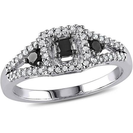 1/2 Carat T.W. Black and White Diamond Princess-Cut Sterling Silver Three Stone Halo Ring (Black And Diamond Ring)