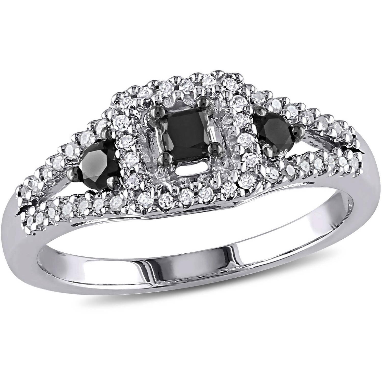 1/2 Carat T.W. Black and White Diamond Princess-Cut Sterling Silver Three Stone Halo Ring