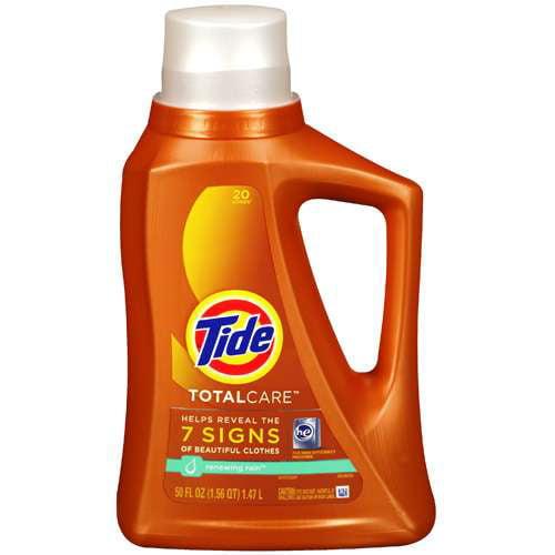 Tide For H.E. Machines Total Care Liquid Laundry Detergent, Renewing Rain, 50 fl oz