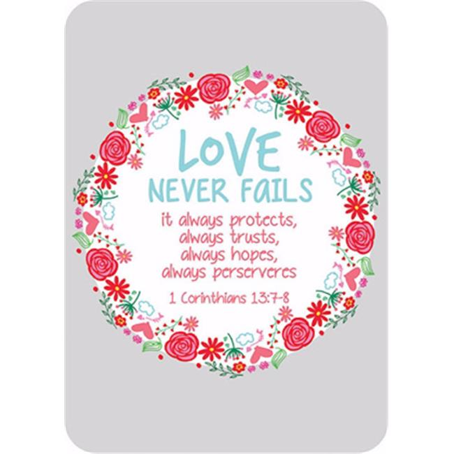 CB Gift 152275 2.5 x 3.5 in. Verse Card - Love Never Fails Red Flowers in Circle