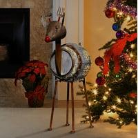 Alpine Corporation Metallic Barreled Reindeer With Warm White LED Lights