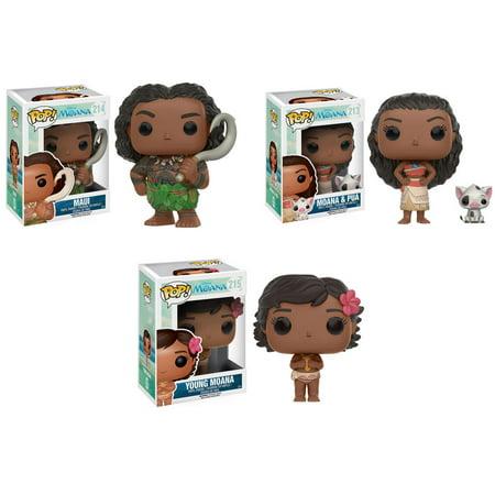 Funko Pop  Disney   Moana Vinyl Figures   Set Of 3  Moana  Maui  Moana   Pua