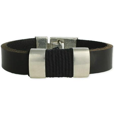 Handsome Black Leather - Black Leather Strap & Silver Bars Men's Bracelet - Ruggedly Handsome Accent