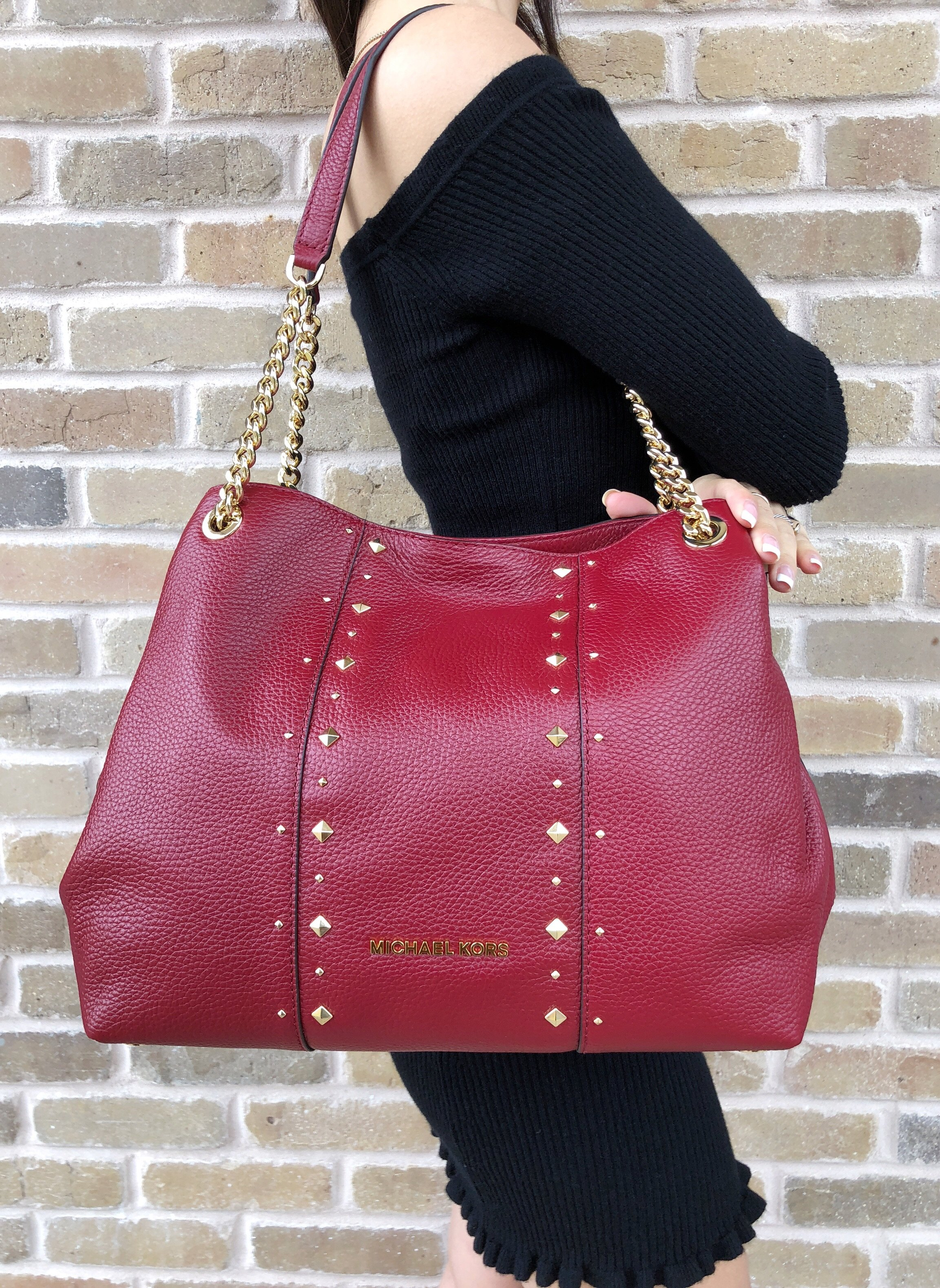 Michael Kors Jet Set Large Chain Shoulder Bag Hobo Small Travel Satchel Pink Tote Leather Cherry Red Stud