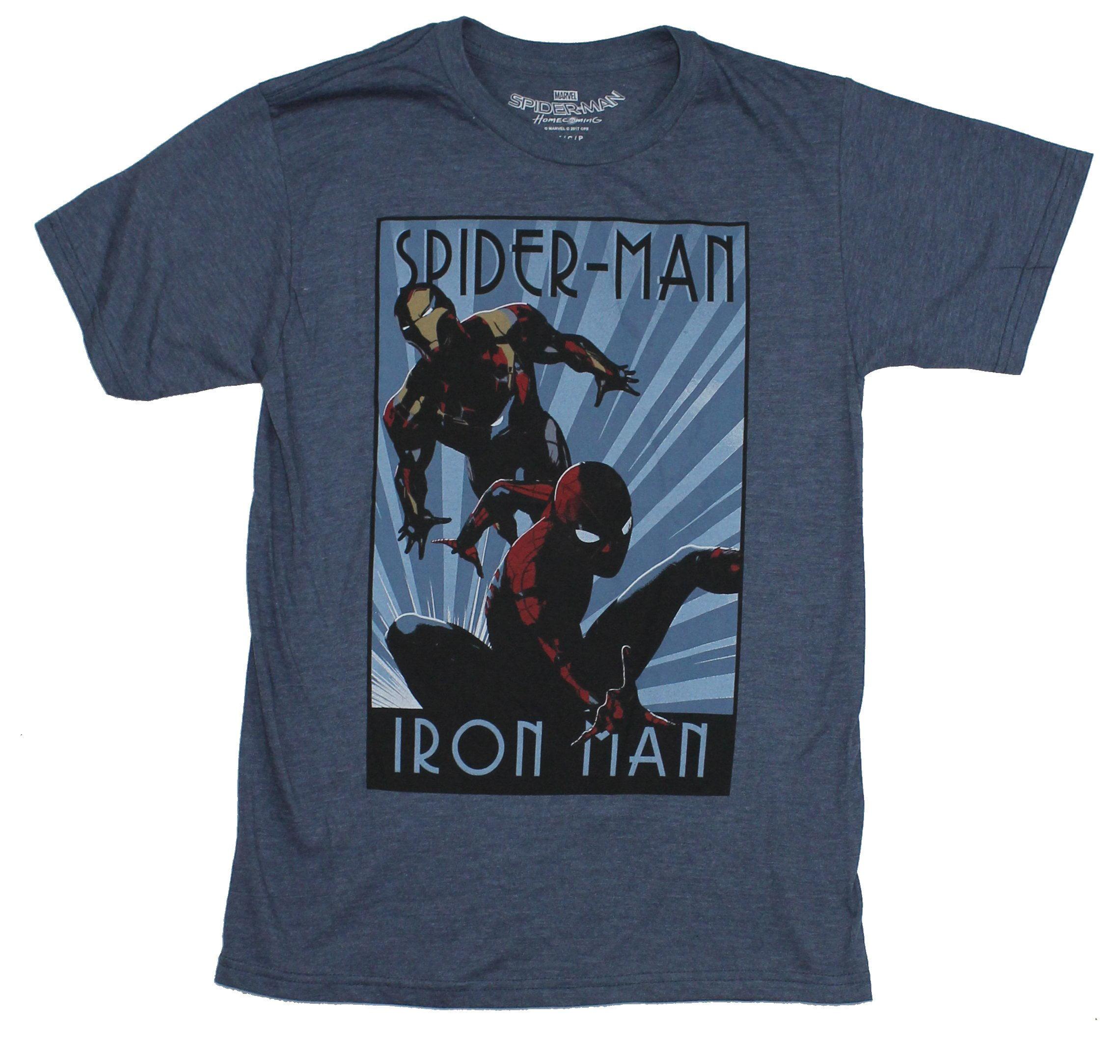 Spider-Man Iron Man Marvel Mens T-Shirt - Art Deco Poster Style Image