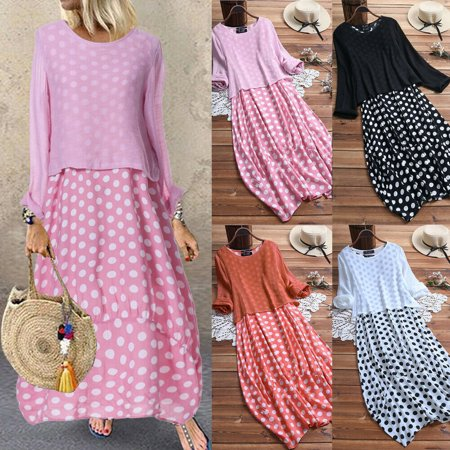 Multitrust Women Summer Casual Polka Dot Patchwork Two Pieces Plus Size Long Maxi