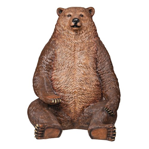 Design Toscano Sitting Pretty Oversized Brown Bear with Paw Seat Statue by Design Toscano
