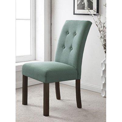 Kinfine Four Button Tufted Parson Chair Aqua Textured by Kinfine