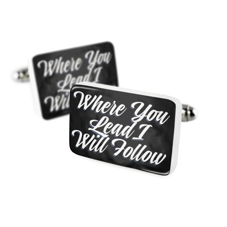 Cufflinks Classic design Where You Lead I Will Follow Porcelain Ceramic NEONBLOND