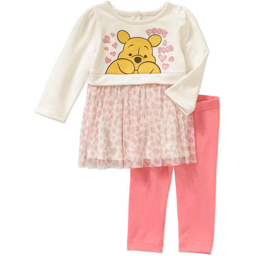 Disney Winnie the Pooh Newborn Baby Girls' Skirted Tunic and Leggings Outfit Set
