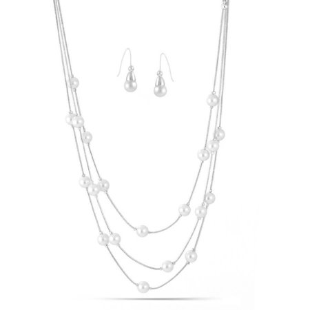 Cream Glass Pearl Silver-Tone Three-Strand Layered Station Necklace and Earrings Set