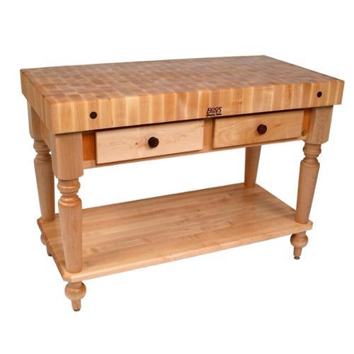 John Boos Table Block w Shelf in Hard Maple End Grain Top...