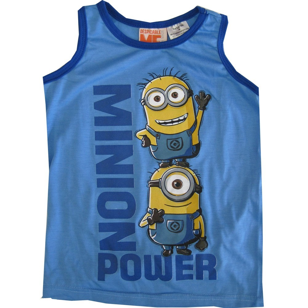 "Minions Little Boys Blue ""Minion Power"" Chartacter Sleeveless Shirt 4-7"