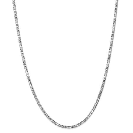 14K White Gold 3 MM Concave Anchor Link Chain Necklace, - White Gold Anchor Chain