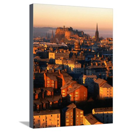 Edinburgh Castle and Old Town Seen from Arthur's Seat, Edinburgh, United Kingdom Stretched Canvas Print Wall Art By Jonathan