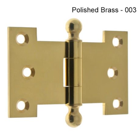 Hinge Finial Polished Brass - Idh by St. Simons 80254-003 2.5 x 4 in. Parliament Hinge with Ball Finials - Polished Brass, Pair