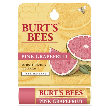 Burts Bees 100  Natural Moisturizing Lip Balm  Pink Grapefruit  1 Tube In Blister Box