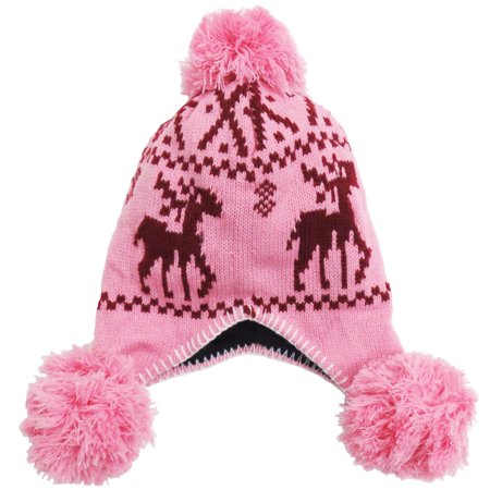 BASILICA - Women s Knit Beanie with Pom Winter Earflap Snow Hat ... a49b1a7cde0