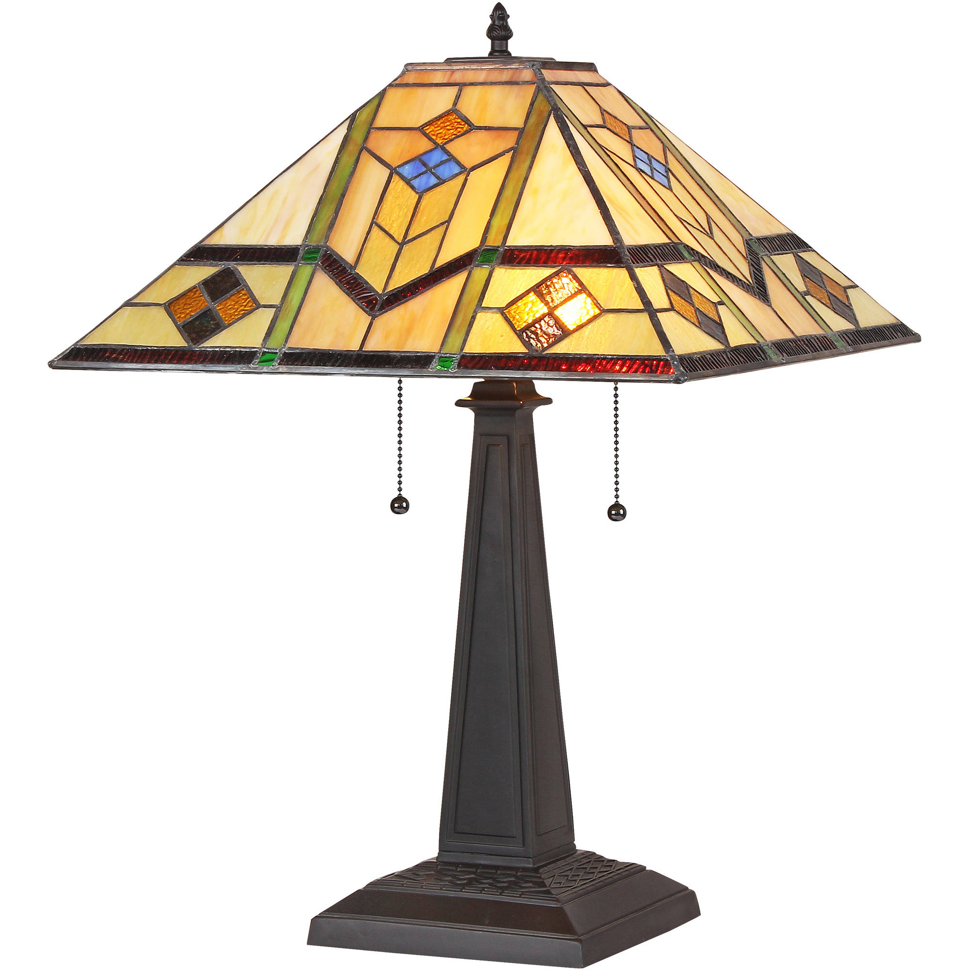 "Chloe Lighting Oliver Tiffany-Style 2-Light Mission Table Lamp with 16"" Shade"