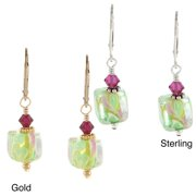 Lolas Jewelry Lola's Jewelry Sterling Silver or 14k Goldfill Green Cube Glass Earrings Green