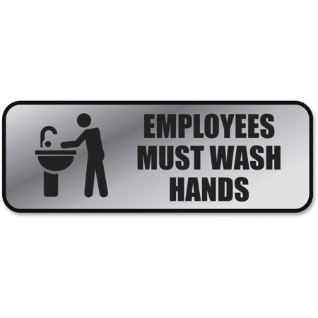 - COSCO Brushed Metal Office Sign, Employees Must Wash Hands, 9 x 3, Silver