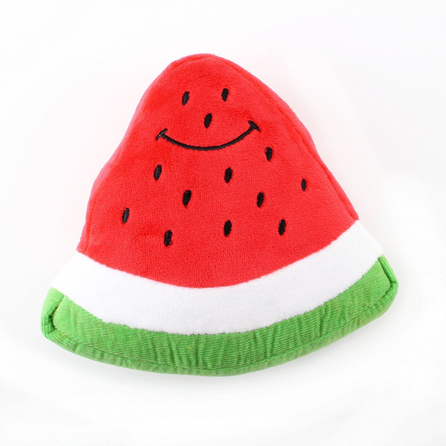 Midlee Smiley Watermelon Squeaker Plush Dog Toy by