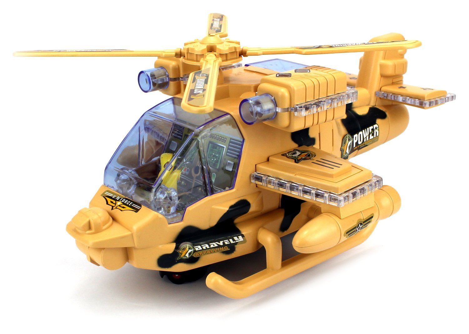 Sky Warrior Battleship Battery Operated Bump and Go Toy Helicopter w  Flashing Lights,... by Velocity Toys
