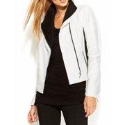 INC NEW White Ivory Black Colorblocked Women's XL Motorcycle Jacket $99