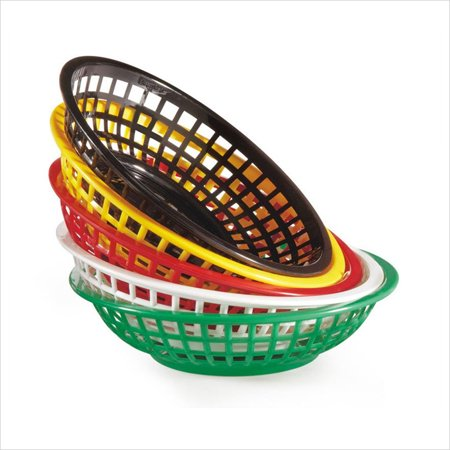 (8 inch Round Basket 2 inch Deep Red Polycarbonate/Case of 36)