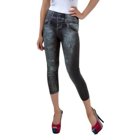 f4742105212432 eForCity - Women's Printed Jean Capri Leggings Jeggings (One Size Fits All)  - Black - Walmart.com
