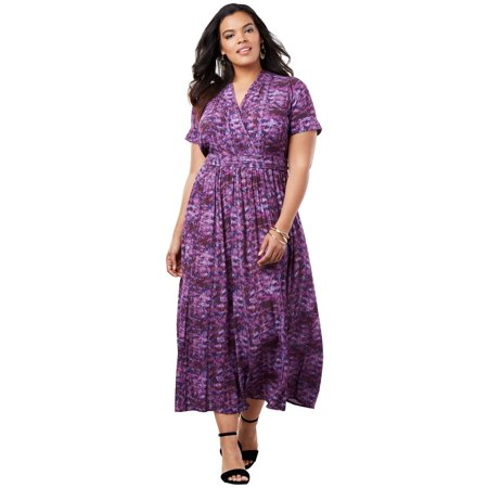 b24e31dacdbd5 Roaman s - Plus Size Wrap Maxi Dress In Crinkle - Walmart.com