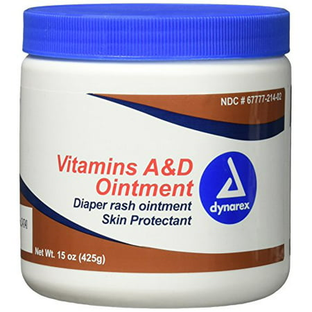 3 Pack Dynarex Vitamin A&D Ointment 15 oz. Jar - Skin, Rash, Tattoo, Small Burns