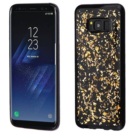 watch c9df4 c4480 insten Flakes Rubber TPU Case Phone Cover For Samsung Galaxy S8 Plus S8+,  Gold/Black