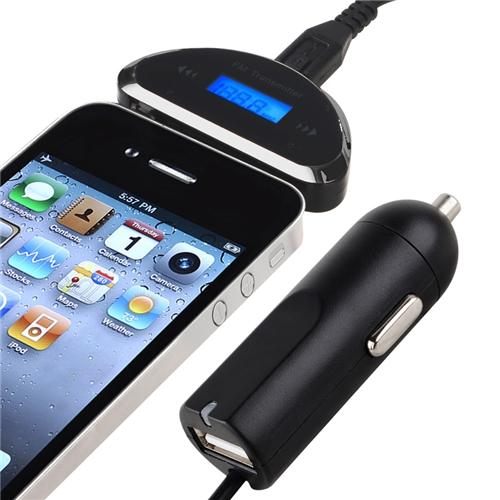 Insten 3.5mm Universal FM Transmitter with Car Charger For Apple iPhone 6S Plus 6 5S 5 SE iPod iPad / Samsung Galaxy S7 Edge Core Grand Prime LG K7 Leon G Stylo Optimus Zone 2 3 Smartphone Cell Tablet