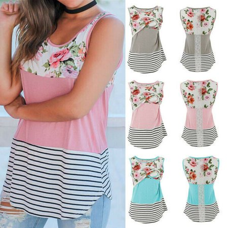- The Noble Collection Maternity Breastfeeding Clothes Cotton Summer Sleeveless Floral Nursing Tank Top
