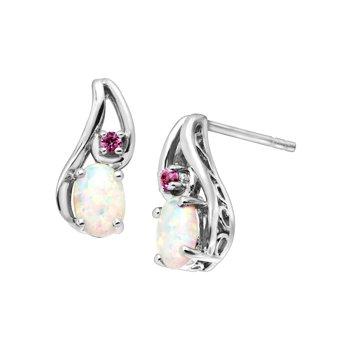 Finecraft 1/2 ct Created Opal & Pink Sapphire Drop Earrings