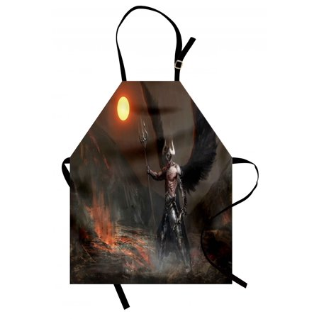 Fantasy World Apron Knight with Wings Feathers Angel Devil Moon Fire Fantasy Night Illustration, Unisex Kitchen Bib Apron with Adjustable Neck for Cooking Baking Gardening, Brown Yellow, by - Devil And Angel Wings