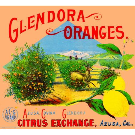 Azusa Glendora Oranges Stag Deer Orange Citrus Fruit Crate Label Art Print