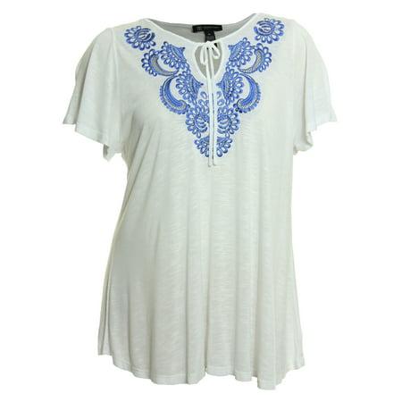 f455d207e2d INC International Concepts - INC Women s Plus Size Short Sleeve Embroidered  Embellished Shirt 2x White Blue - Walmart.com
