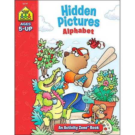 School Zone Activity Workbooks 32 Pages-Hidden Pictures Alphabet Ages