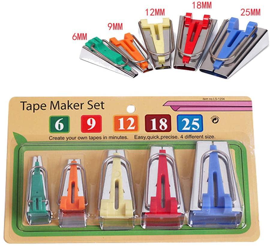 Bias Tape Maker Set 4 Sizes Fabric Bias Tape Maker Tools 6mm 12mm 18mm 25mm Fabric Sewing Quilting Bias Binding Maker