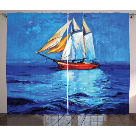 Ship Curtains 2 Panels Set, Oil Painting Style Sailship Frigate Floating on the Sea Modern Impressionism Artwork, Window Drapes for Living Room Bedroom, 108W X 63L Inches, Multicolor, by Ambesonne