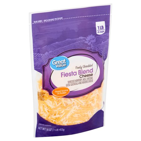 Great Value Finely Shredded Fiesta Blend Cheese, 16 oz