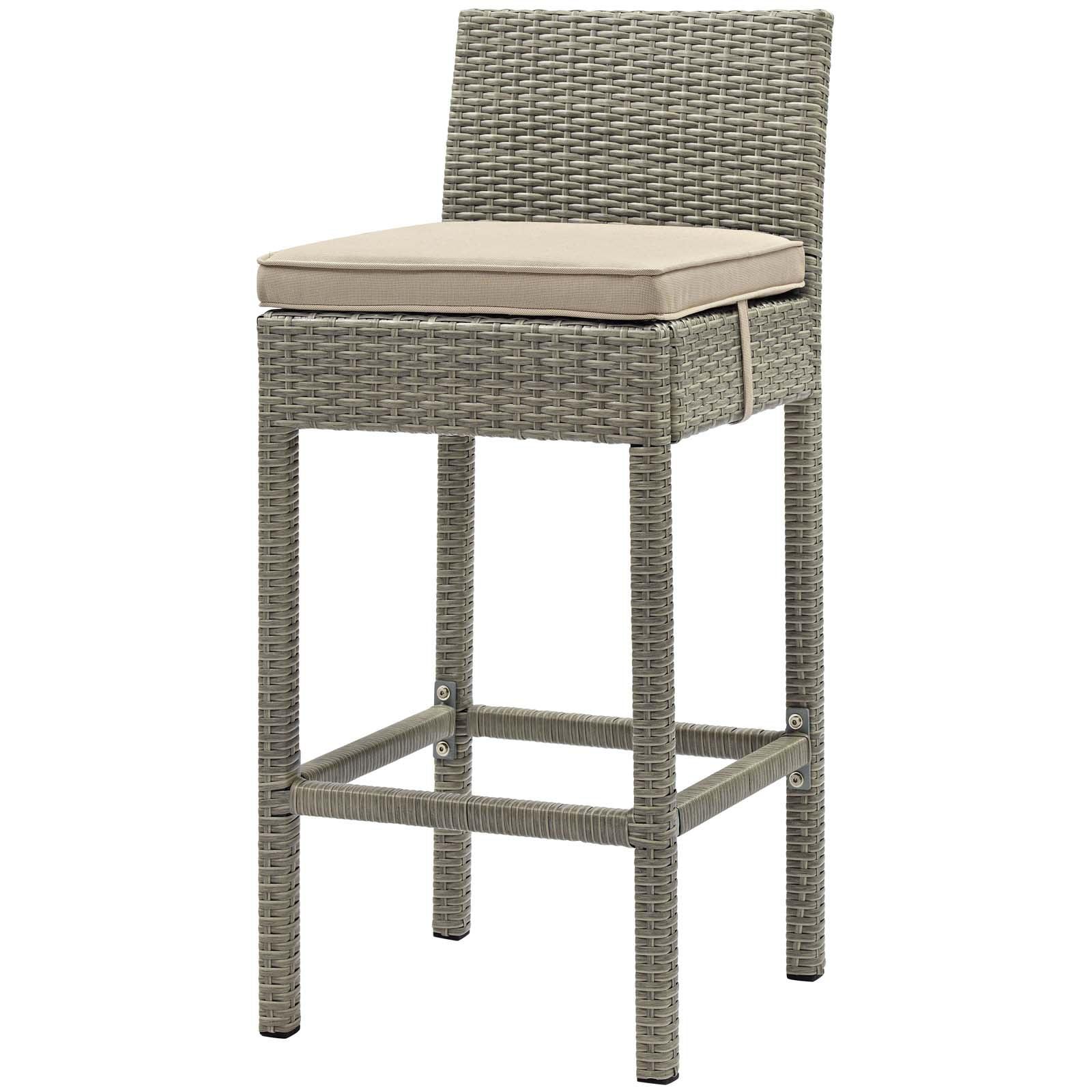 Modern Contemporary Urban Design Outdoor Patio Balcony Garden Furniture Bar Side Stool Chair, Rattan Wicker, Light Gray Beige