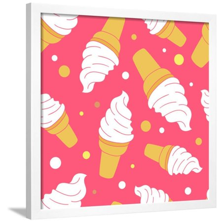 A Lot of Ice Cream Hand Drawn Background. Doodle Wallpaper Vector. Colorful Seamless Pattern Framed Print Wall Art By